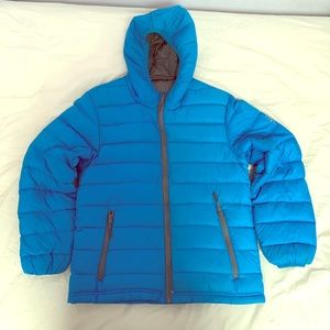 Boys lightweight hooded down jacket.
